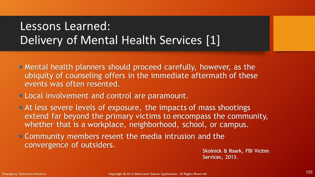 Lessons Learned: Delivery of Mental Health Services [1]